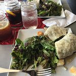 A tuna wrap in the foreground and a chicken wrap in the background- both were delicious