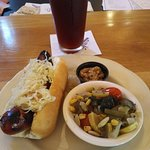 Mettwurst with succotash and a seasonal roggenbier is a hearty lunch.