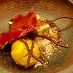 Autumn in Japan - Valrhona dulcey & popcorn parfait, miso caramel, mandarin & yuzu sorbet.