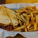 The hot pastrami sandwich basket - that load of fries were only one of the 2 sides.