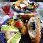 Ploughman's Lunch with gluten-free sandwiches in the background
