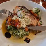 Salmon on Spinach mash with ratatouille.