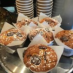 Delicious banana & choc chip muffins on display!