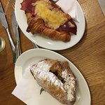 Rhubarb & Custard Pasty and Bacon & Cheese Croissant