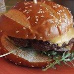 beef burger in bun
