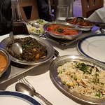 various dishes to mix & match on 'hot plates'