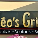 This is the restaurant sign above the outdoor seating area.