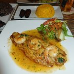 Delicious fresh Grouper filet and grilled shrimp