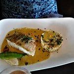 13 Filet de cabillaud sauce mouclade et risotto petits pois crevettes