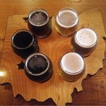 Flights of beer samples come on an Ohio-shaped tray.