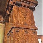 Details of wood column inside the Heginbothum Library.