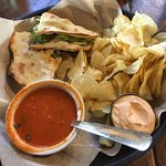 I had the hand-tossed Artisan sandwich with blackened fish and my husband had the Greek one. The