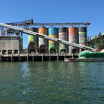 View of Granville Island silos from Aquabus