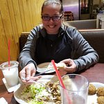 Enjoying good Mediterranean cuisine, including Baklava, on a Saturday evening in Manitou CO.