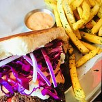 Lamb and beef sandwich w/fries.