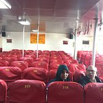 Narrow seats inside the ferry