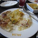 Vegetable Curry with Naan and various rice dishes