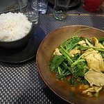 Khing Chicken curry and rice, was very hot in spice