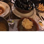 Mussels,French onion soup and much moe
