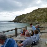 Boat Shed Cafe front terrace and sea view