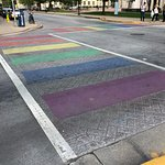 Easy to find, on the corner by the equality crosswalk