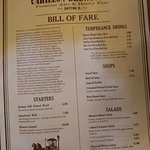 Page 1 of the Menu