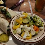 Chicken Caesar wrap with steamed vegetables! Yummy!!