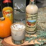 PUMPKIN SPICE WHITE RUSSIAN/ vanilla vodka, Kahlua, pumpkin cream liqueur