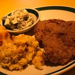 Fried Chicken meal with macaroni cheese and coleslaw