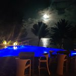 The pool area and the moon