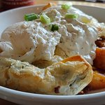 Spanakopita with poached eggs