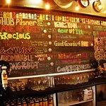 Beer list behind the bar
