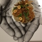 Jerusalem artichokes, picked crones, fresh ricotta, fried hazelnuts