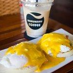Eggs Benedict and Coconut Coffee