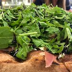 Arugula , Fig, Marscapone Pizza