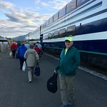 Hubby waiting for me to take photo as we board McKinley Explorer luxury domed train.