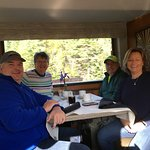 McKinley Explorer train dining car for breakfast with friends.