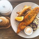 Catch of the Day - Blue Warehou with hand cut fries, aioli and slaw