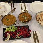 Chicken 65, Chicken tikka masal, Bengali fish curry, garlic naan and rice