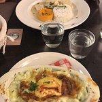 ravioles au saint Marcelli et poulet