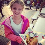 Enjoying the fish & chips!