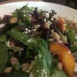 BEST IN SHOW: Siummer Salad with peaches, candied walnuts, boursin cheese, and peach vinigerette