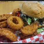 Mushroom burger and onion rings