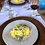 Carbonara with summer squash from their garden