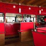 The bar inside the double decker bus