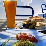 avocado salad , orange juice