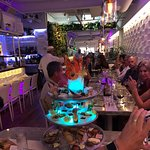 Seafood Tower and Calamari Skewers with Yuzu Caper Butter Sauce