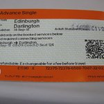 Train ticket fromEdinburgh Waverley Station to Darlington Durham