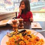 Enjoying paella
