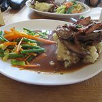 Liver and bacon with mustard mash
